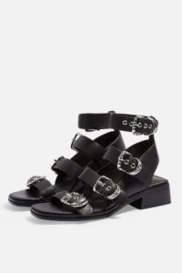 VICTORY Black Leather Buckle Sandals